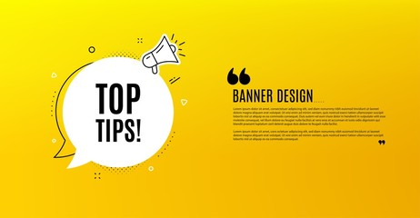 Top tips symbol. Yellow banner with chat bubble. Education faq sign. Best help assistance. Coupon design. Flyer background. Hot offer banner template. Bubble with top tips text. Vector
