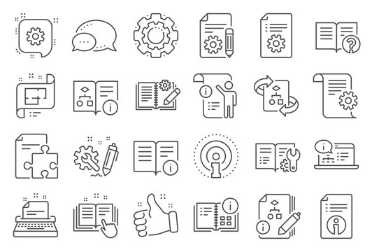 Technical document line icons. Set of Instruction, Plan and Manual icons. Help document, Building plan and Algorithm symbols. Technical blueprint, Engineering instruction, Work tool, building. Vector