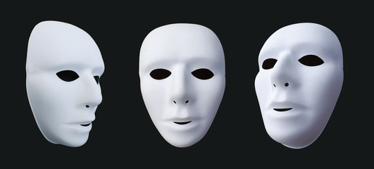 comedy and tragedy masks on black background