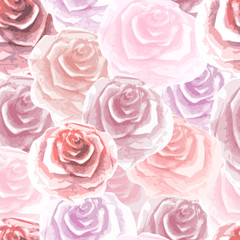 vector image of pink roses painted watercolor seamless