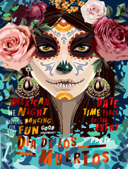 Día de los Muertos, Mexican holiday Day of the Dead and Halloween. Vector illustration of a woman with sugar skull makeup and flowers - Calavera Catrina for poster, card or background