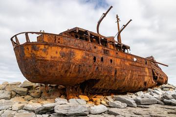 Acrylic Prints Shipwreck Plassey shipwreck and rocks in Inisheer Island