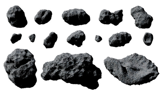 set of asteroids isolated on white background