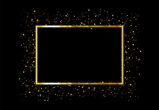 Gold frame with glowing lights and sparkle bokeh effects, isolated on background. Shining golden rectangle. Luxury premium design template.