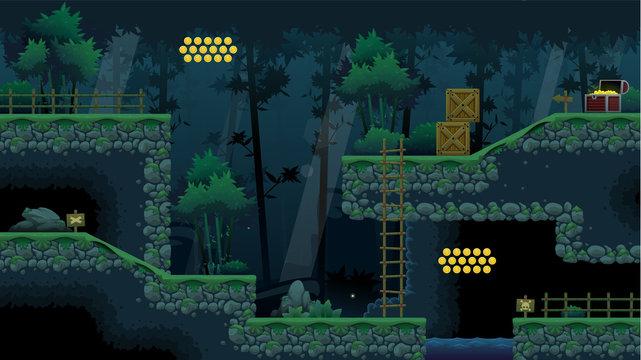 Ninja Forest Platformer Game Tileset
