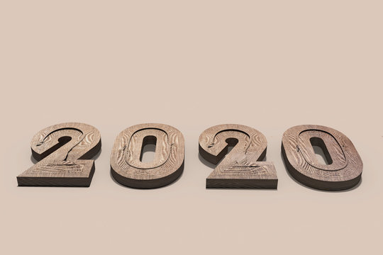 3D render of rough natural fibre textured protruding solid numbers forming the year 2020 lying on a clean flat beige surface casting a short shadow