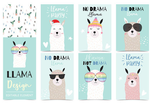 Collection of animal background set with llama,cactus.Editable vector illustration for birthday invitation,postcard and sticker.Wording include llama not drama