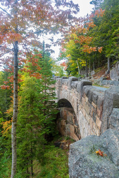 Cliffside bridge, part of the Around Mountain carriage road, in Acadia National Park