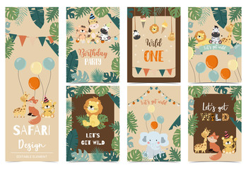 Collection of safari background set with giraffe,balloon,zebra,elephant,brown.Editable vector illustration for birthday invitation,postcard and sticker.Wording include wild and free