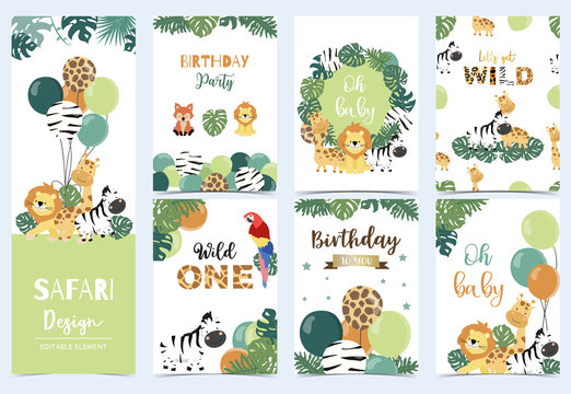 Collection of safari background set with giraffe,balloon,zebra,lion,green.Editable vector illustration for birthday invitation,postcard and sticker.Wording include wild and free
