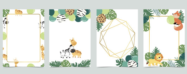 Wall Mural - Green collection of jungle frame set with leaf,leaves,fox,lion,balloon vector illustration for birthday invitation,postcard,logo and sticker