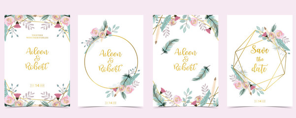 Wall Mural - Pink green gold geometry wedding invitation with rose,flower and leaves.Vector birthday invitation for kid and baby.Editable element