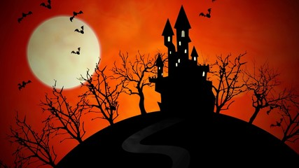 Zelfklevend Fotobehang Diepbruine Halloween background with the castle and moon