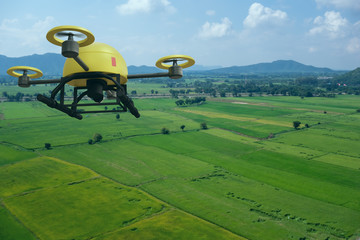 Wall Mural - drone for agriculture, drone use for various fields like research analysis, safety,rescue, terrain scanning technology, monitoring soil hydration ,yield problem and send data to smart farmer on tablet