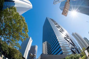 新宿高層ビル街 青空 太陽 フレア 2019 魚眼撮影