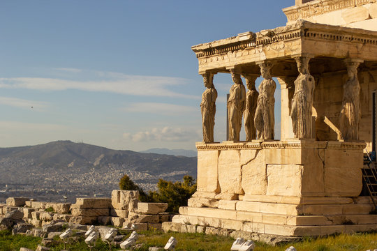 Greek ruins in the Acropolis of Athens, parthenon and caryatids