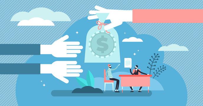 Lending money vector illustration. Flat tiny financial debt persons concept