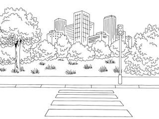 Crosswalk street road graphic black white city landscape sketch illustration vector Fotomurales