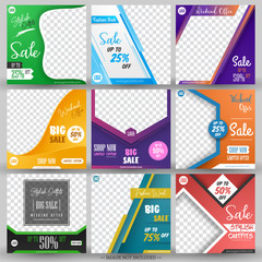 Modern promotion square web banner for social media mobile apps. Elegant sale and discount promo backgrounds with abstract pattern and different color.