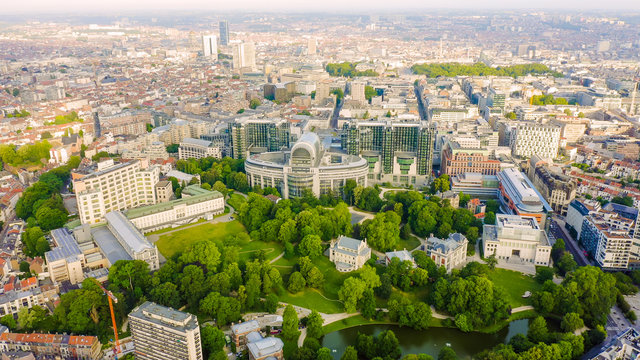 Brussels, Belgium. The complex of buildings of the European Parliament. State institution, Aerial View