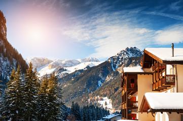 Ski resort in winter Dolomite Alps. Canazei, Val Di Fassa, Italy. Winter holidays, travel destination