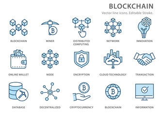 Blockchain flat line icon set. Vector illustration. Editable stroke.