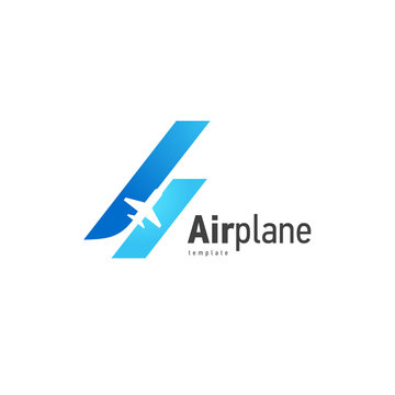 Airplane logo blue flight up stripes