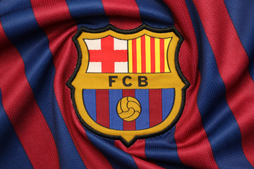 BANGKOK, THAILAND -JULY 18: the logo of  Barcelona football club on an official jersey on July, 18,2018.
