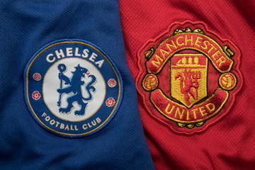 BANGKOK, THAILAND - SEPTEMBER 19: The Logo of   Manchester United andChelsea on Football Jerseys on September 19,2017 in Bangkok Thailand.
