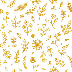 Folk flowers vintage raster seamless pattern. Ethnic floral motif white hand drawn background. Contour golden inflorescence, blossom. Blooming, plant leaves. Ditsy textile, wallpaper design.