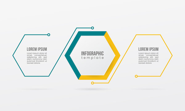 business infographic thin line 2 step option point hexagonal geometric flat element design template