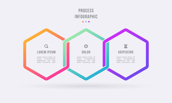 business process timeline infographics 3 steps shapes template