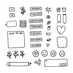 Vector of Cute Journal and diary elements isolated on white. Hand drawn Doodle set for notebook or diary.
