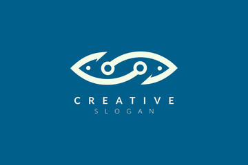Abstract minimalist fish shape vector design. Simple fish design, flat logo style, modern icon and symbol.