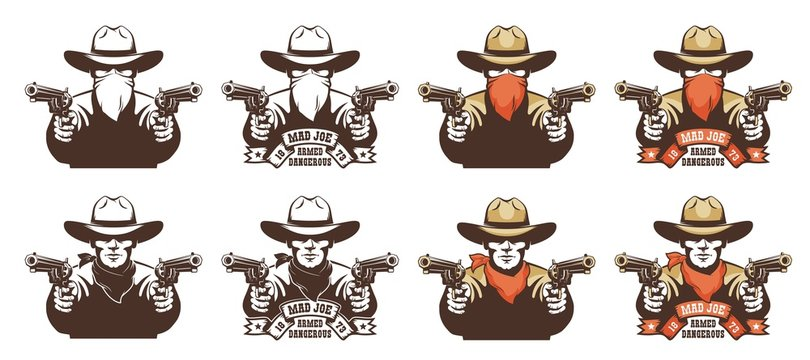 Cowboy bandit from the wild west with guns in his hands. Robber in a cowboy hat with pistols and bandana mask on his face. Isolated vector illustration.