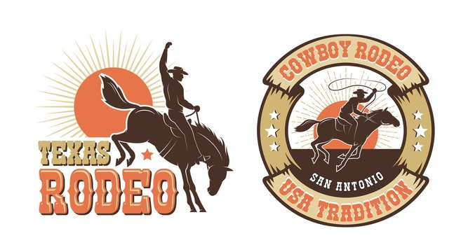 Rodeo retro logo with cowboy horse rider silhouette. Wild west vintage rodeo badge. Vector illustration.