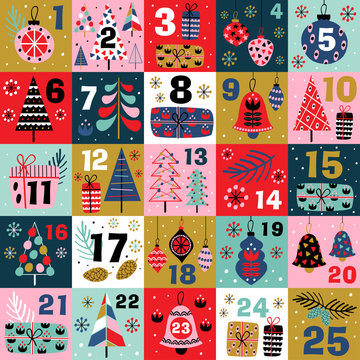 advent calendar with christmas decorations and christmas trees - vector illustration, eps