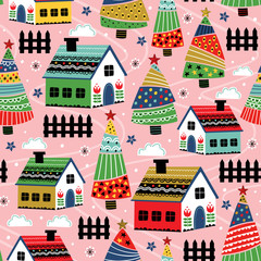 seamless pattern with decorative house and christmas trees   - vector illustration, eps