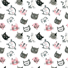 Watercolor cute cats faces seamless pattern. Nursery design in scandinavian style.