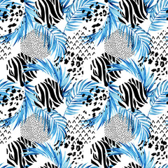 Blue watercolor tropical leaves and ornated triangles background. Unusual water color florals and geometric shapes