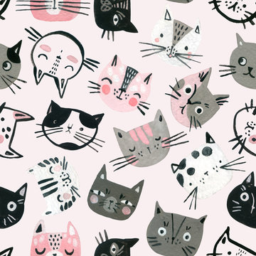 Cartoon watercolor cats seamless pattern in pastel colors. Cute kitten faces background for kids design.