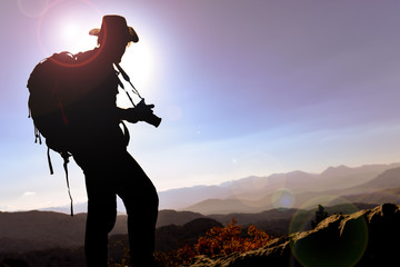 photographer man for exploration and spectacular landscape