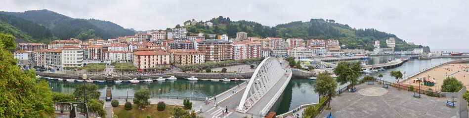 Traditional spanish north coast village of Ondarroa. Panoramic view