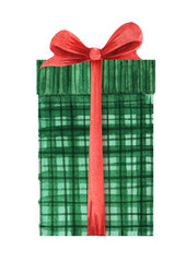 A green checkered box with a lid and a red lush bow tied with a ribbon. Holiday gift box Christmas present. Hand drawn watercolor illustration isolated on white background
