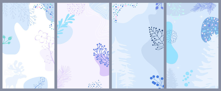 Set of abstract vertical background with winter elements, shapes, plants in one line style. Background for mobile app page minimalistic style. Vector illustration