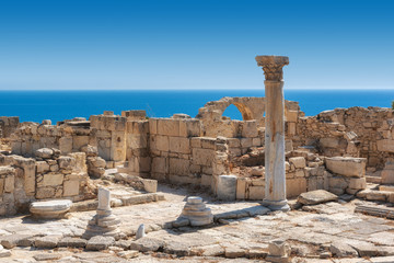 Cyprus ruins of ancient Kourion and Mediterranean sea on background, Limassol District, Cyprus