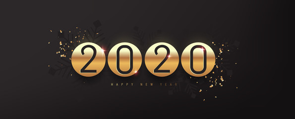 Fototapete - 2020 Happy New Year background. 2020 number text gold texture design.Vector holiday illustration.