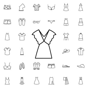 Dress icon. Universal set of summer clothes for website design and development, app development