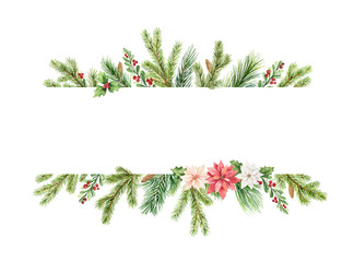 Watercolor vector Christmas banner with fir branches, flowers of poinsettia.