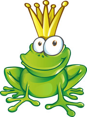 cute frog prince cartoon character  mascot. illustration